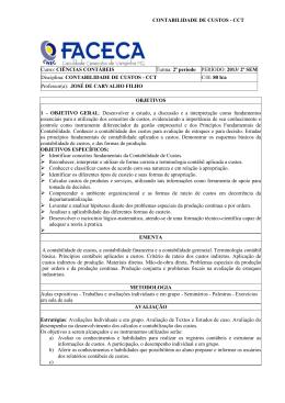CONTABILIDADE DE CUSTOS - CCT Curso: CIÊNCIAS