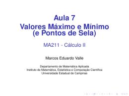 Aula 7 Valores Máximo e Mínimo