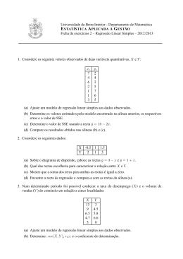 Departamento de Matemática ESTATÍSTICA APLICADA À GESTÃO