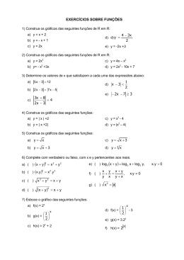 EXERCÍCIOS SOBRE FUNÇÕES 2 34x y − = 4 3 2 8 3