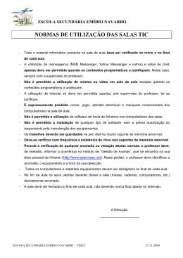 NORMAS DE UTILIZAÇÃO DAS SALAS TIC