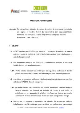 1 PARECER N.º 378/CITE/2015 Assunto: Parecer prévio à intenção