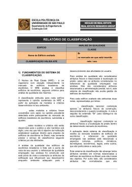 RELATÓRIO DE CLASSIFICAÇÃO