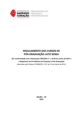 regulamento dos cursos de pós-graduação lato sensu