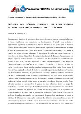 Dinâmica dos sólidos suspensos em reservatórios