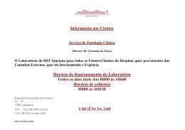Acolhimento ao Utente - Hospital Prof. Doutor Fernando Fonseca