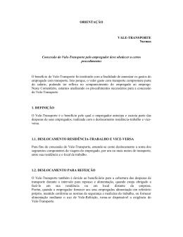 ORIENTAÇÃO VALE-TRANSPORTE Normas Concessão