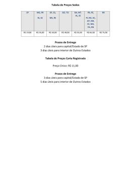 Tabela de Preços Sedex Prazos de Entrega 2 dias úteis para capital