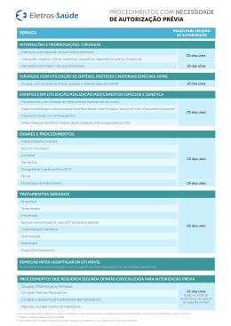 Tabela de Procedimentos de Autorização Prévia