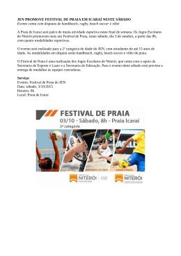 JEN PROMOVE FESTIVAL DE PRAIA EM ICARAÍ NESTE SÁBADO