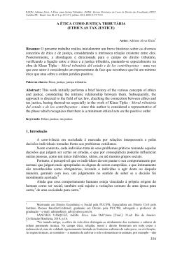15. A ÉTICA COMO JUSTIÇA TRIBUTÁRIA Adriano Alves Klein