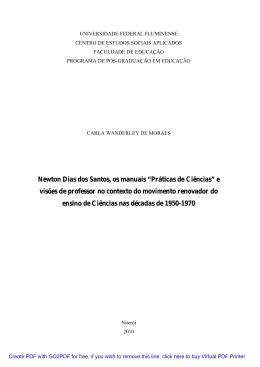 """Newton Dias dos Santos, os manuais """"Práticas de Ciências"""" e"""