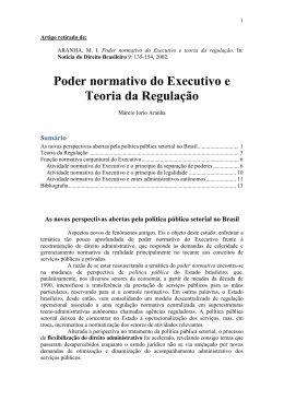 Poder normativo do Executivo e teoria da regulação
