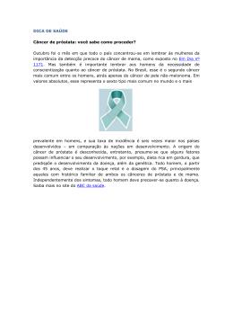 DICA DE SAÚDE Câncer de próstata: você sabe como