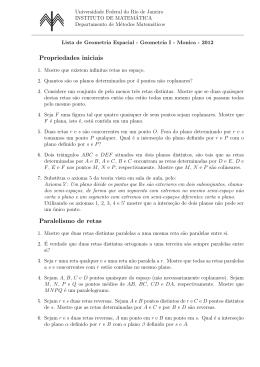 Lista de geometria espacial - Instituto de Matemática