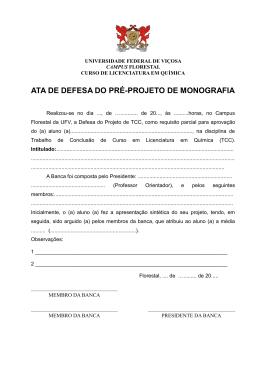 ATA DE DEFESA DO PRÉ-PROJETO DE MONOGRAFIA
