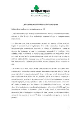 lista de checagem do protocolo de pesquisa