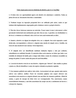 Vinte regras para escrever histórias de detetive, por SS Van Dine 1.