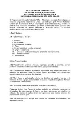 estatuto geral do grupo pet programa de educação tutorial