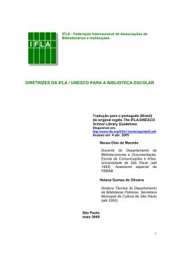 DIRETRIZES DA IFLA / UNESCO PARA A BIBLIOTECA ESCOLAR