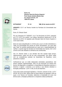 Exmo. Sr. Director Geral do Ensino Superior Prof. Doutor António