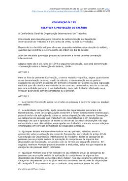CONVENÇÃO N.º 95 RELATIVA À PROTECÇÃO DO SALÁRIO A