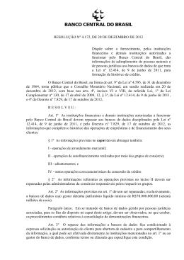 RESOLUÇÃO Nº 4.172, DE 20 DE DEZEMBRO DE 2012 Dispõe
