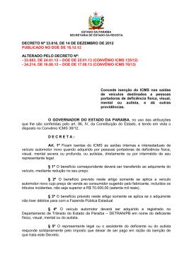 DECRETO Nº 33.616, DE 14 DE DEZEMBRO DE 2012 PUBLICADO