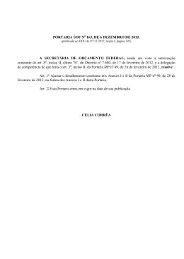 Portaria SOF nº 163, de 06 de dezembro de 2012