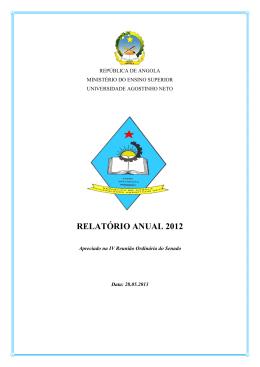 Relatório do Ano de 2012 - Universidade Agostinho Neto