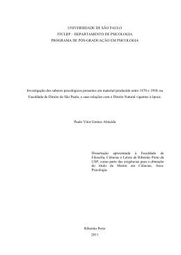 UNIVERSIDADE DE SÃO PAULO FFCLRP – DEPARTAMENTO DE