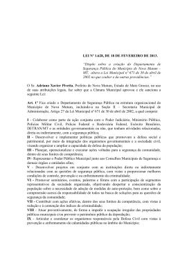LEI 1.628 - CRIAÇÃO DEPARTAMENTO DE SEGURANÇA