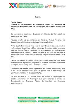 Biografia Paulina Duarte Diretora do Departamento de Segurança