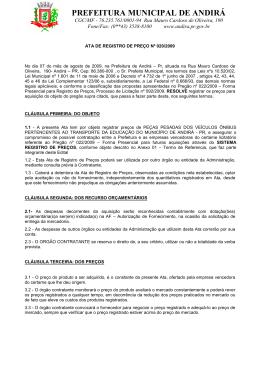 ATA DE REGISTRO DE PREÇOS Nº 020-2009