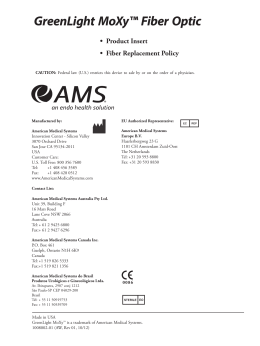 GreenLight MoXy™ Fiber Optic - AMS Labeling Reference Library