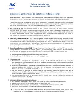 Orientações para emissão da Nota Fiscal de