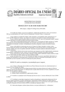 MINISTÉRIO DAS CIDADES CONSELHO DAS CIDADES