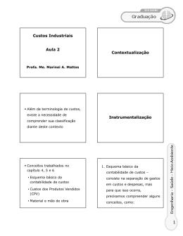 Custos Industriais Aula 2 Contextualização Instrumentalização