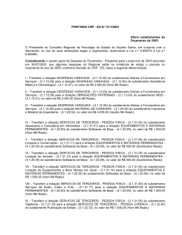 PORTARIA CRP - ES N.º 011/2005 Altera subelementos - CRP-16