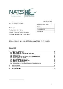 TEMA: NEOCATE® NA ALERGIA A LEITE DE VACA (APLV