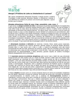 Alergia a proteina do leite de vaca X