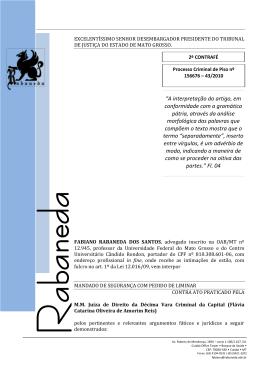 Mandado de Segurança - Presença do Advogado Reconciliação