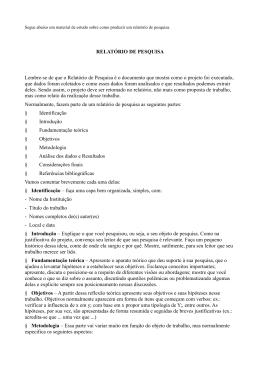 RELATÓRIO DE PESQUISA Lembre-se de que o Relatório de