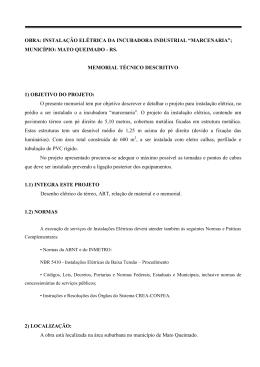 Memorial Descritivo Marcenaria R1 - Prefeitura Municipal de Mato