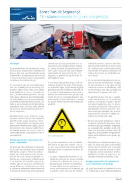 Conselhos de Segurança. 18 – Manuseamento de gases sob pressão.