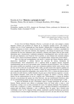 """Resenha do livro """"Histeria: o princípio de tudo"""" Maurano, Denise"""