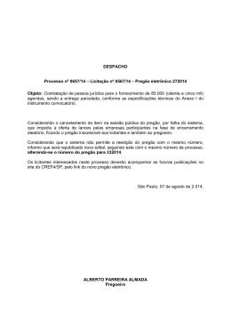 DESPACHO Processo nº 0657/14 – Licitação nº 0567