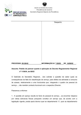 Despacho PROCESSO: 95-26/42 INFORMAÇÃO N.º 138/02 DE 14