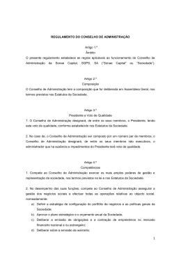 REGULAMENTO DO CONSELHO DE ADMINISTRAÇÃO Artigo 1.º