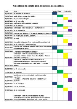 Calendário do estudo para tratamento aos sábados
